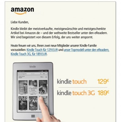 Kindle Touch w Amazon.de