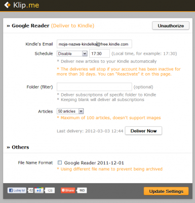 Klipme - ustawienia Google Reader