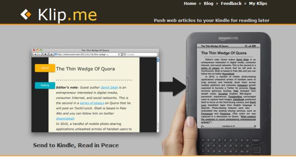 Klip.me i wysyłka na Kindle