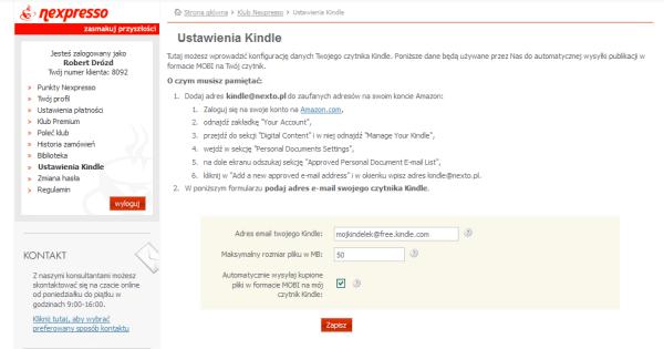 Ustawienia Kindle wNexto