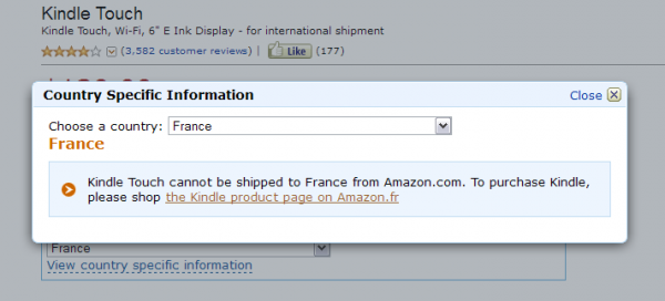 Kindle Touch we Francji - nie można zamówić