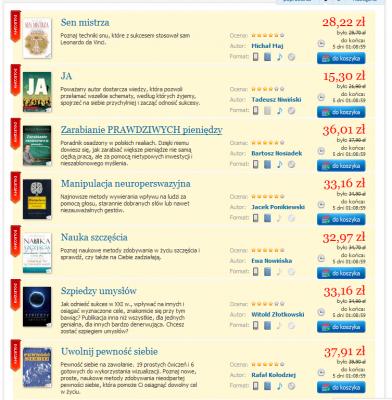 Lista bestsellerów w EPUB