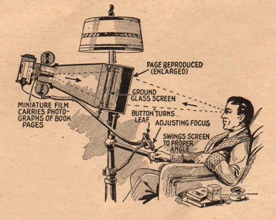 Czytnik e-booków z 1935 - urządzenie do czytania mikrofilmów w fotelu