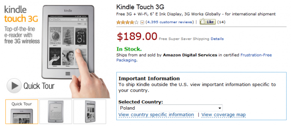 Kindle Touch 3G In Stock