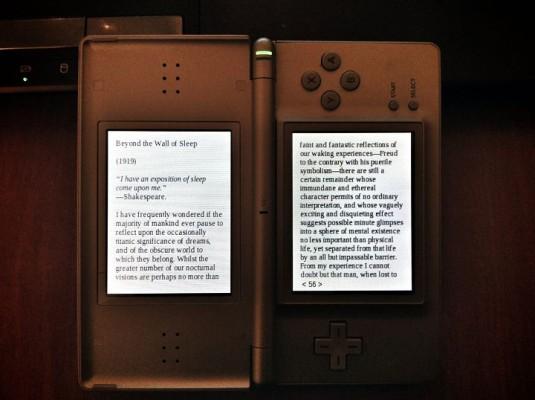 DSLibris - plik ePub wyświetlony na konsoli Nintendo DS Lite