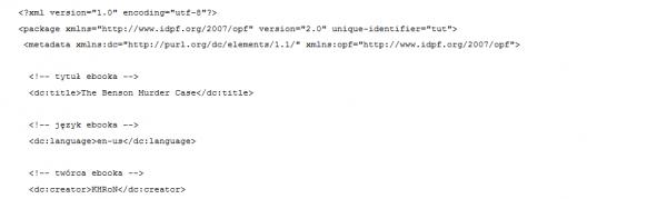 XML tworzący e-booka
