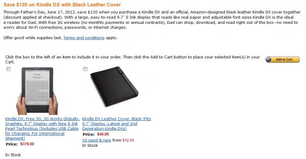 Promocja Kindle DX - trzeba wybrać oba produkty