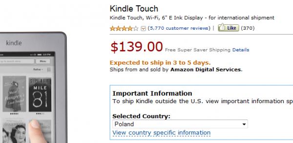 Kindle Touch i komunikat o wysyłce w ciągu 3-5 dni