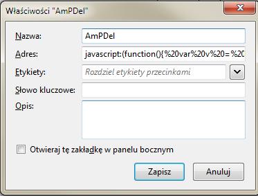 Skryptozakładka - właściwości wMozilla Firefox