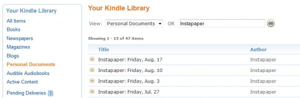 Strona Personal Documents na koncie Amazonu