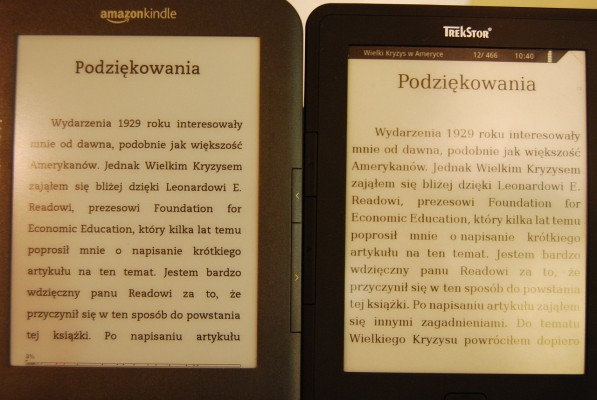 Kindle Keyboard i Trekstor Pyrus