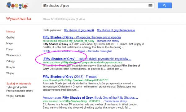 Wyniki z Google - 2 miejsce na hasło Fifty Shades of Grey