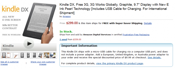 Kindle DX po $299
