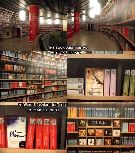 Półki z e-bookami w metrze w Rumunii