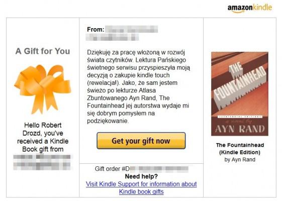 Kindle gift - przykład
