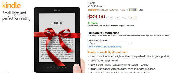 Kindle Classic z gwiazdkową wstążeczką