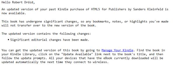 Mail zAmazonu - problemy zksiążką oHTML5