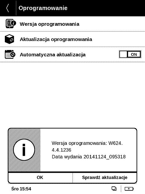 """Aktualizację oprogramowania wewnętrznego można wywołać z poziomu menu """"Oprogramowanie"""""""