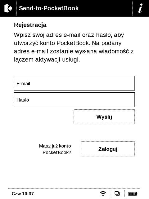 Usługa wysyłania plików doczytnika PocketBook wymaga rejestracji, można ją wykonać zpoziomu urządzenia