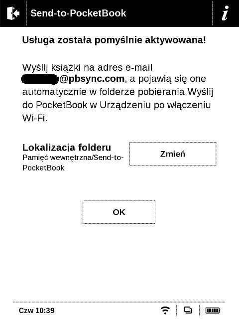 Potwierdzenie aktywacji usługi Send-to-PocketBook