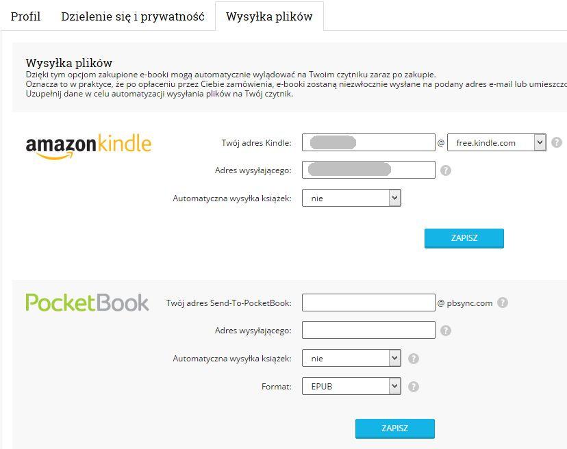 """Wysyłkę naczytniki Kindle orazPocketBook można skonfigurować wustawieniach konta - sekcja """"Wysyłka plików"""""""