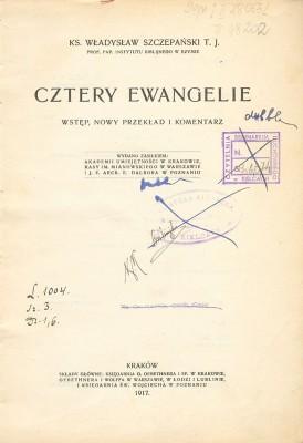 Szczepanski_-_4_Ewangelie_(1917)_Strona_tytułowa