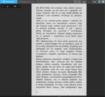 Strona księgarni Polona ze skanem jednej ze stron Konopielki.