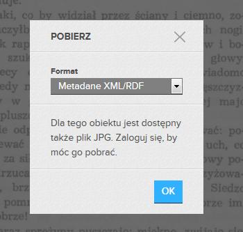 Treść obrazka: Pobierz. Format Metadane XML/RDF. Do tego obiektu jest dostępny plik JPG. Zaloguj się aby móc go pobrać.