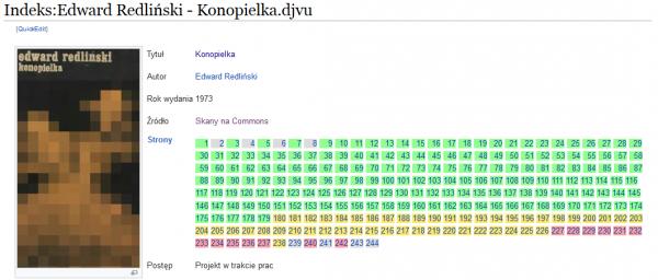 Indeks książki zlistą stron istanem ich przerobienia odzielonych (przerobione), poczerwone (nieprzerobione).