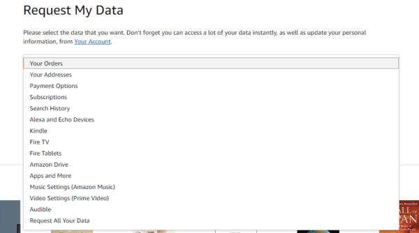 """Formularz """"Request My Data"""" - wybieramy jedną zopcji, co ma być pobrane"""
