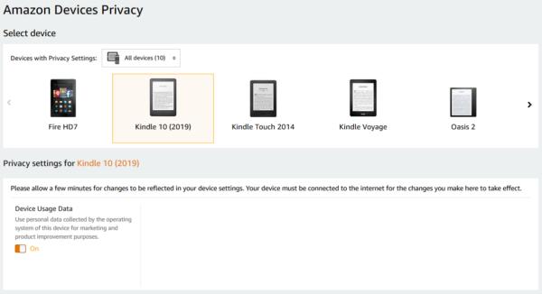 Strona Amazonu izakładka Amazon Devices Privacy. Wybrane jedno zurządzeń iwidoczna opcja Device Usage Data