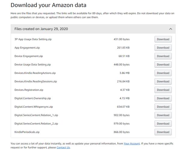 """Strona """"Download your Amazon data"""" - lista plików dopobrania nastronie Amazonu"""