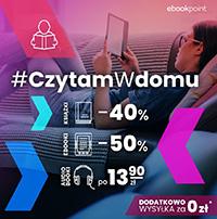Czytam w domu z Ebookpoint: E-booki -50%, audiobooki po 13,90 zł